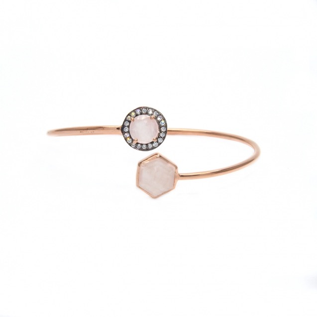 Bracelet or rose et quartz