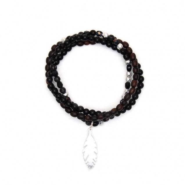Bracelet perles et plume
