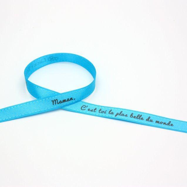 """Bracelet satin """"Maman c'est toi la plus belle du monde"""""""
