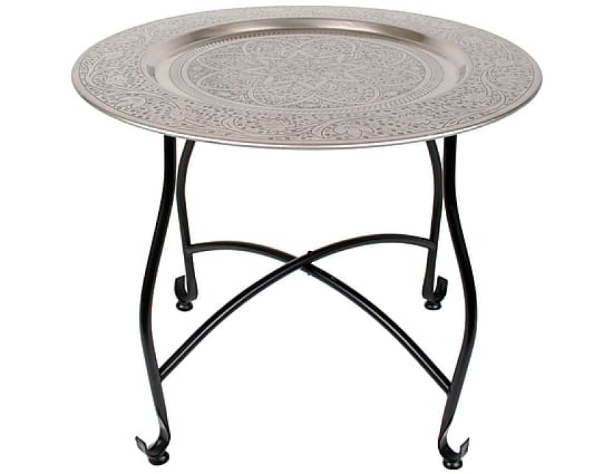 Table d'appoint, argenté et noire