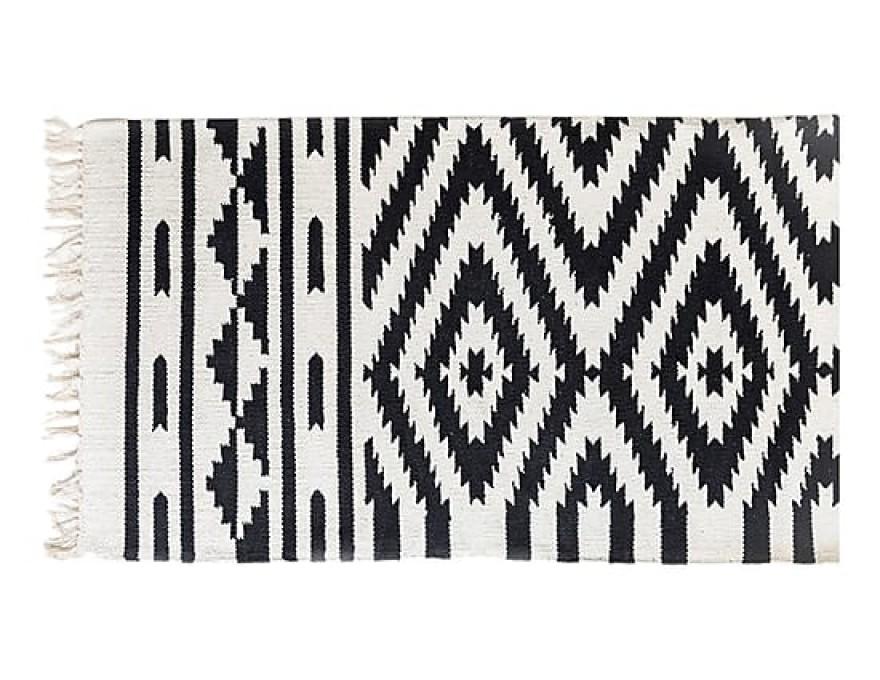 Tapis Caprice coton noir et blanc