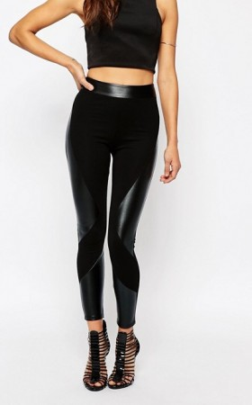 Leggings empiècements imitation cuir