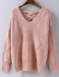 Pull tricoté ajouré dos