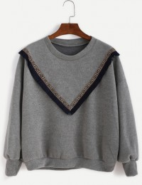 Sweat broderies et franges