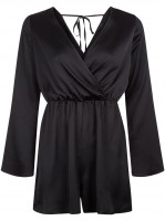 black-sateen-wrap-front-long-sleeve-playsuit