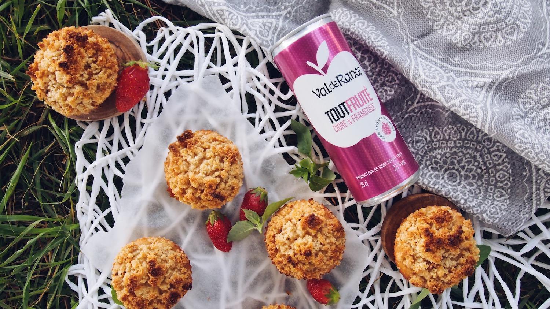 Muffins façon crumble fraises-basilic (gluten free) avec Val de Rance