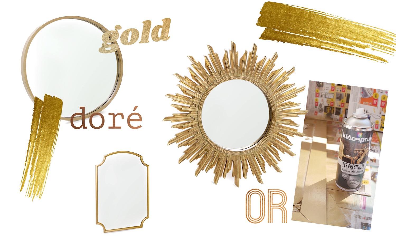 """Focus sur les miroirs """"gold"""" DIY & sélection shopping"""