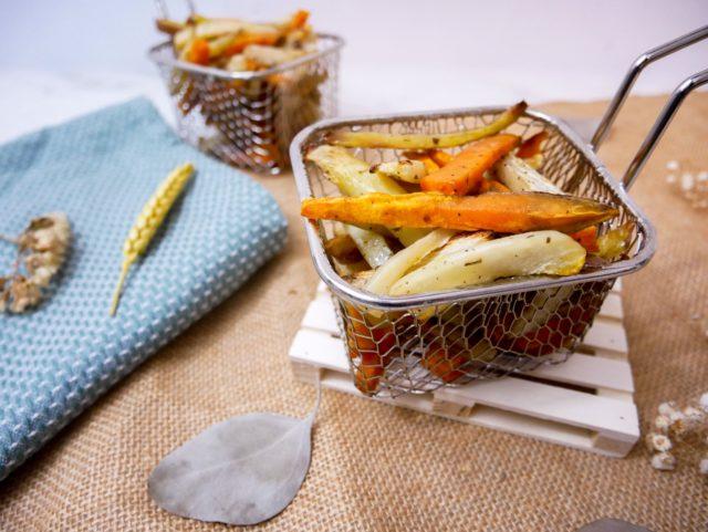 Frites de radis noir, patate douce et pomme de terre au four
